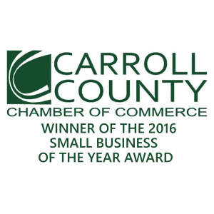 <h5>Winner Of The 2016 Carroll County Chamber of Commerce Small Business of the Year Award</h5><p>Winner Of The 2016 Carroll County Chamber of Commerce Small Business of the Year Award</p>